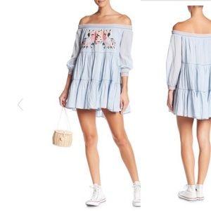 Free People Sunbeams Blue Mini Dress Size Small